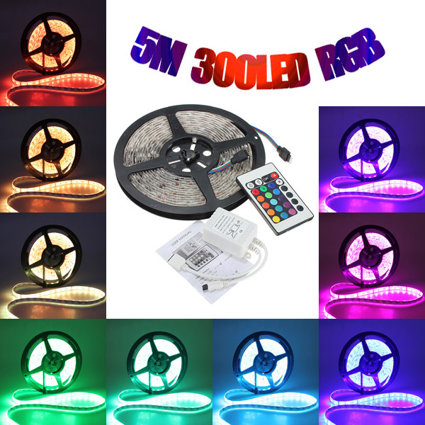 5M 5050 RGB Waterproof 300 LED Strip Light 12V DC 24 Key IR Controller 20pcs lot led connector silicon clip for fixing non waterproof 3528 5630 5730 3014 5050 smd rgb rgbw led strip bracket clamp