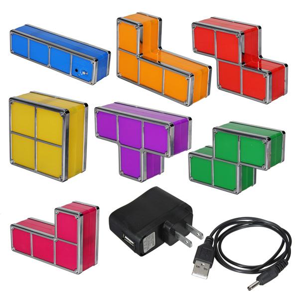 Тетрис поделки конструктивных ретро стиль игры штабелируемые LED настольная лампа