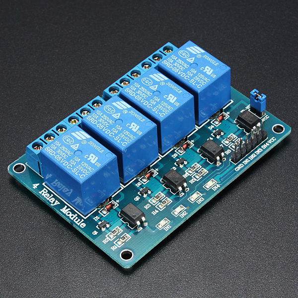 5V 4 Channel Relay Module For Arduino PIC ARM DSP AVR MSP430 Blue 5v 2 channel relay module shield for arduino arm pic avr dsp mcu electronic