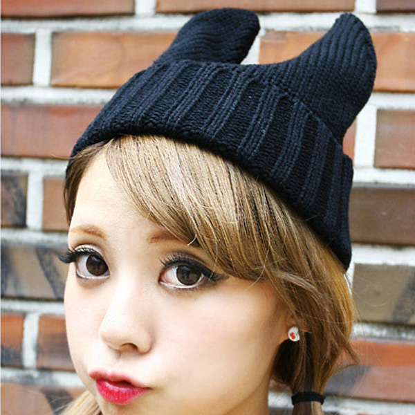 Fashion Cute Devil Angle Cat Ear Korea Knitting Wool Unisex Cap