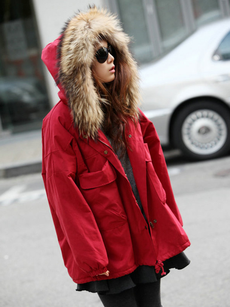 Fashionable Ladies Hooded Heavy Fur Collar Fall Winter Coat