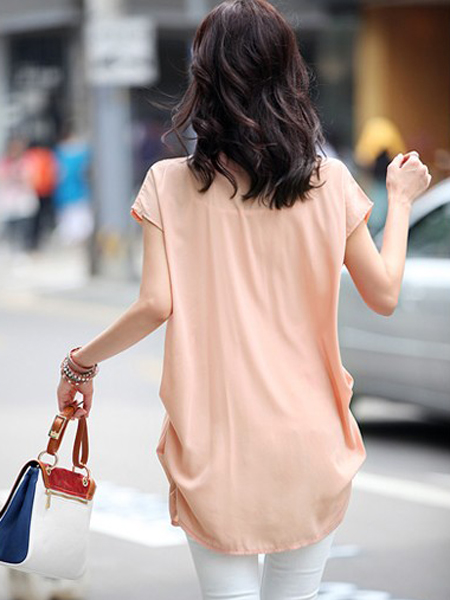 Big Yards Casual Long Batwing-sleeve Solid Lace Chiffon T-Shirt