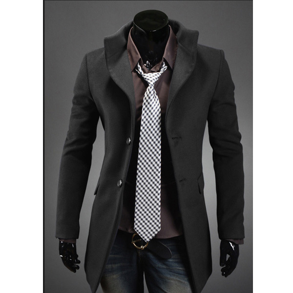 Mens High Collar Single Breasted Long Coat