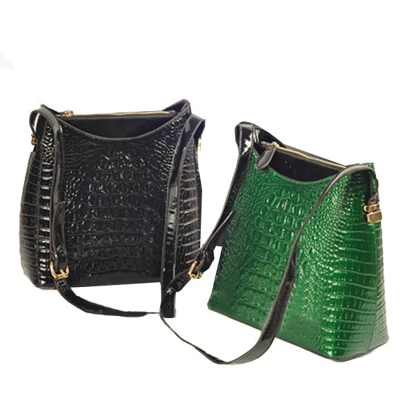 New Fashion Women Retro Bucket Bag Crocodile Grain Shoulder Messenger Bag