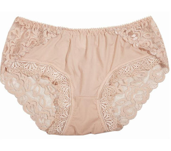 women beige lace seamless panties