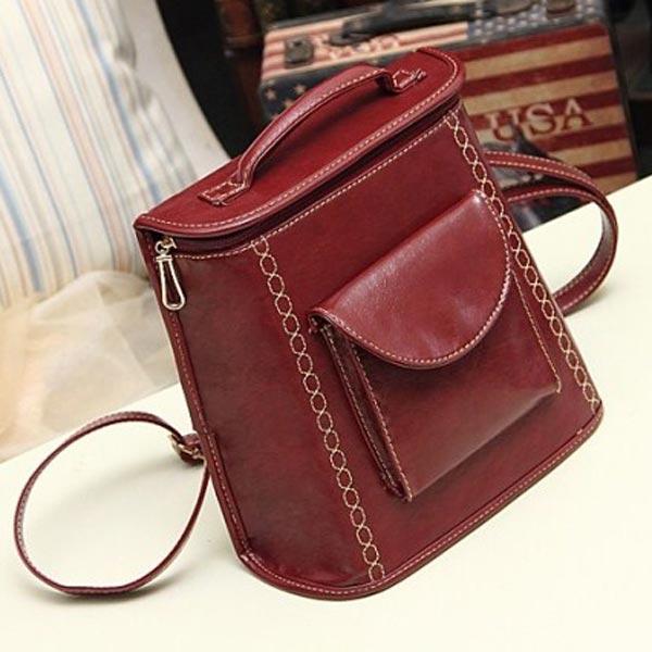 New European Vintage Preppy Style Women Backpack Shoulder Bag
