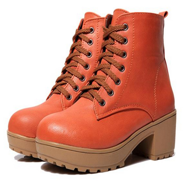 Orange European Style Thick Heel Women Ankle Boots