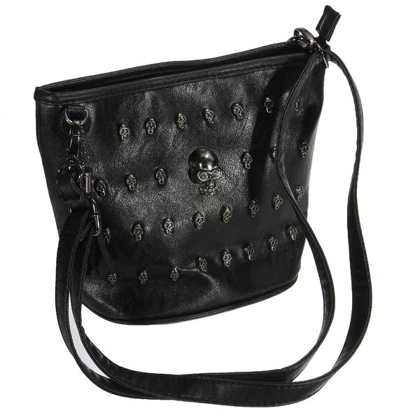 Punk Skull Rivet Black Pu Women Bucket Shoulder Bag Cross Body Bag
