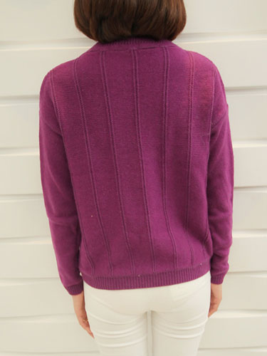 Knitting Hole Round Collar Pullovers Sweater