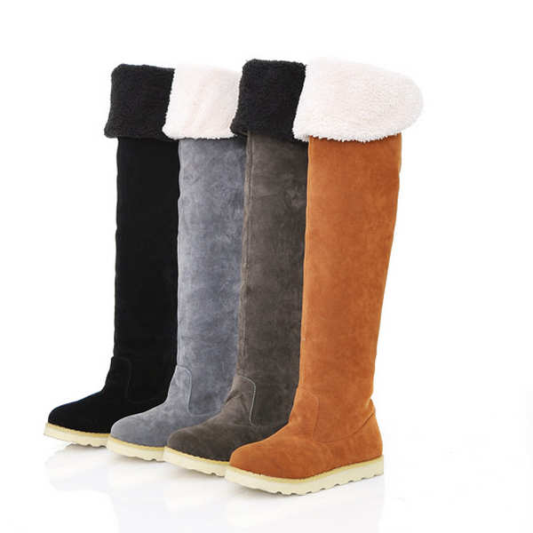 Women's Winter Suede Warm Over Knee High Snow Boots