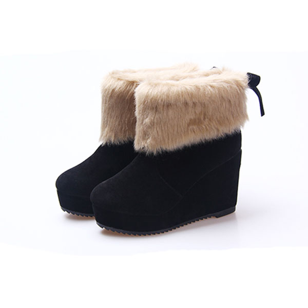 Black Platform Wedge Heel Butterfly Knot Ankle Snow Boots