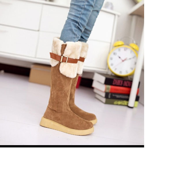 Suede Buckle Two Wear Folded Cotton Padded Snow Boots