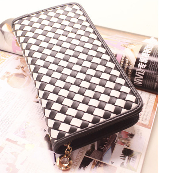 European Fashion Black White Grids Women Clutch Purse Long Wallet