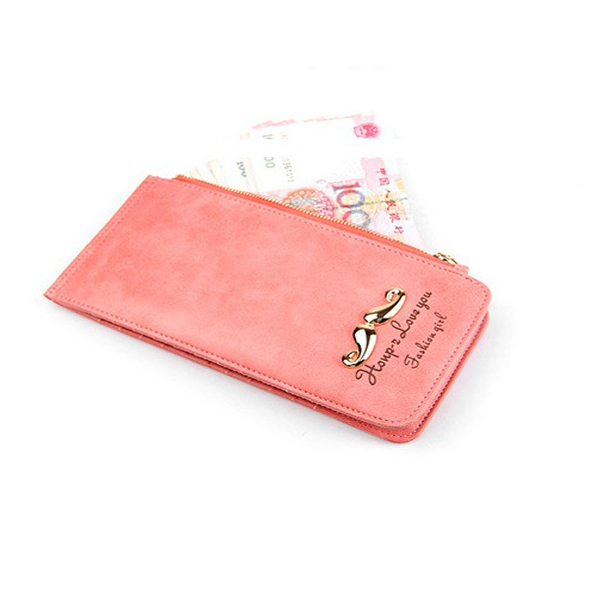 Fashion Mustaches Nubuck Leather Women Long Purse Cards Holder Wallet