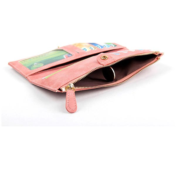 New Fashion Nubuck Leather Mustaches Pattern Women Long Purse Wallet