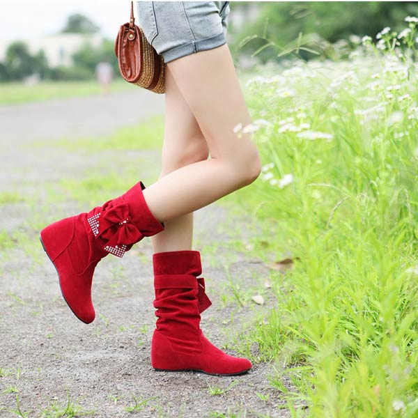 Bowtie Mid-Calf Women Boots Butterfly Knot Hidden Heel Ladies Shoes