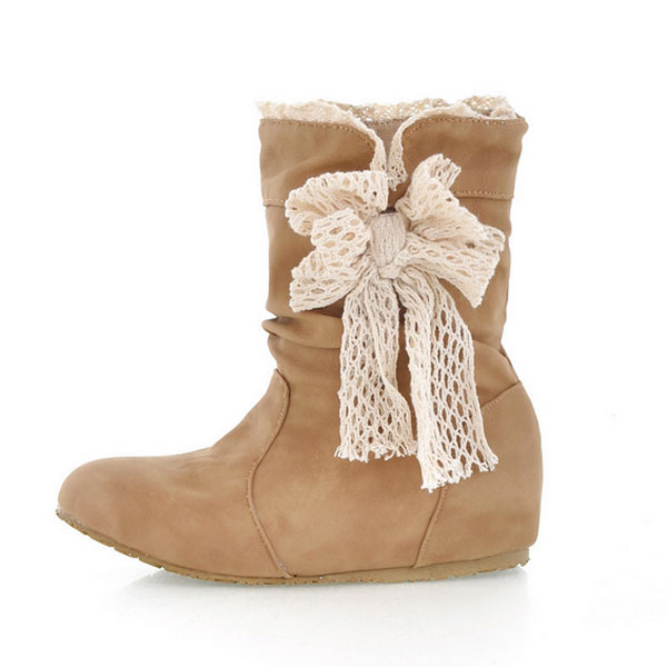 Lace Women Snow Boots Butterfly Knot Mid-calf Bow Knot Girls Shoes