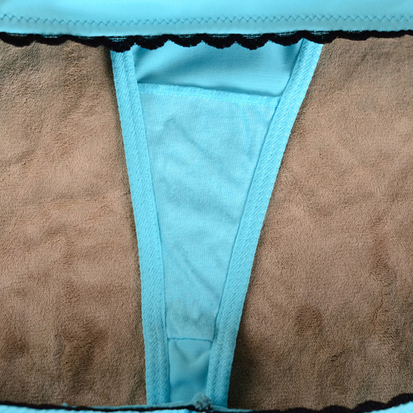 Comfortable Sky Blue Seamless Sexy Low Waist Ladie Thong Panties