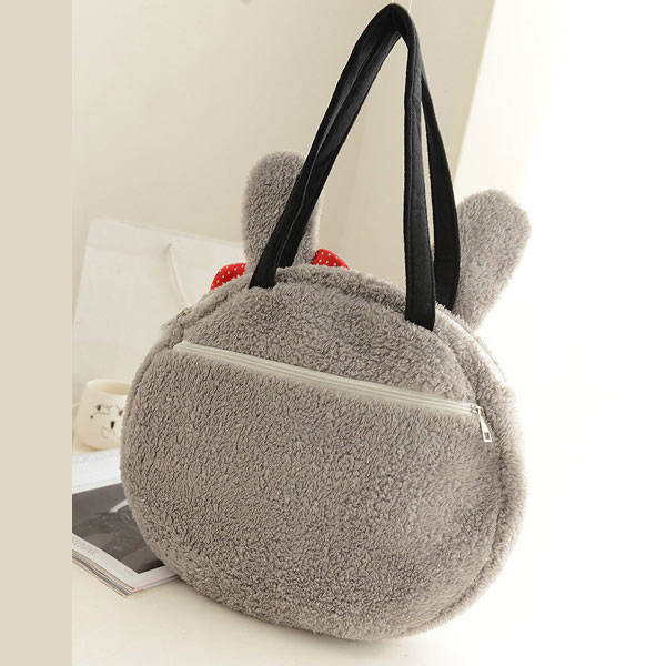 Cute Lovely Women Rabbit/Panda Pattern Handbag Plush Fur Shoulder Bag