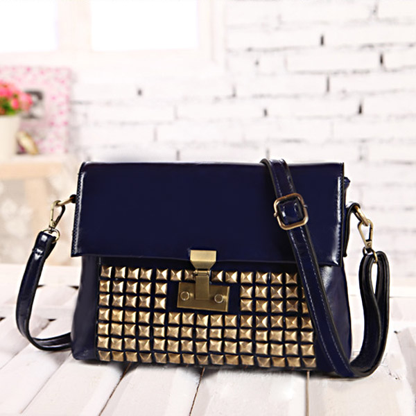 New European Style Retro Rivet Bag Women Shoulder Cross Body Bag