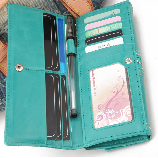 New Fashion Women PU Leather 3 Folds Purse Long Clutch Zipper Wallet
