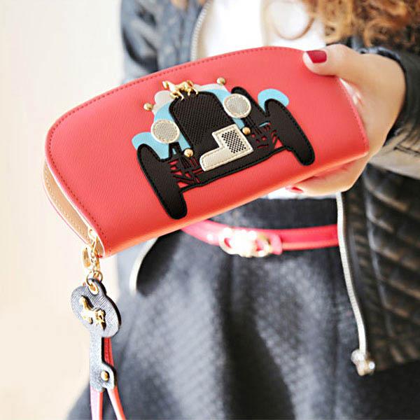 Lovely Girls Key Car Pattern PU Zipper Long Purse Clutch Wallet