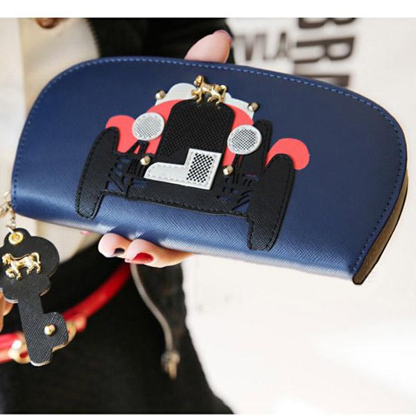 Girls Car Pattern Zipper Long Purse Wallet