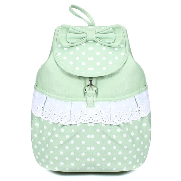 Fashion Preppy Style Sweet Bowknot Polka Dots Girls Backpack Schoolbag