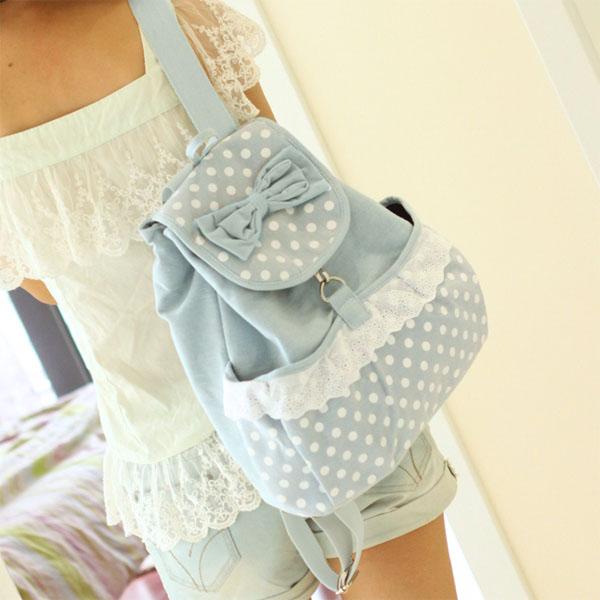Fashion Preppy Style Sweet Bowknot Polka Dots Girls Backpack Schoolbag