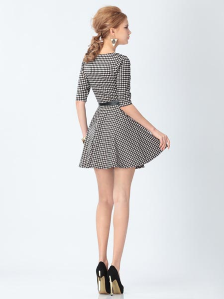 ZanzeaBlack And Pink Houndstooth Plaid Half Sleeve Dress
