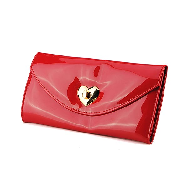 Fashion Patent Leather Candy Color Women Wallet Heart Shape Purse