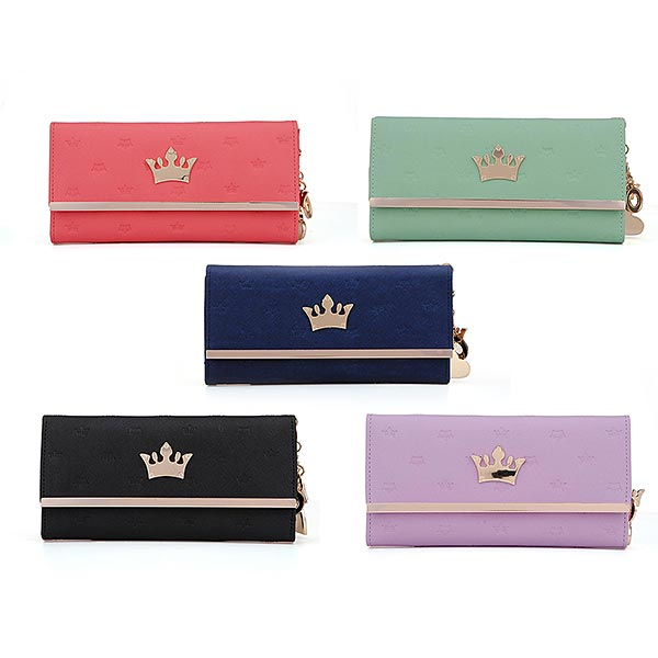 New Fashion Crown Pendant Lady Long Wallet Purse