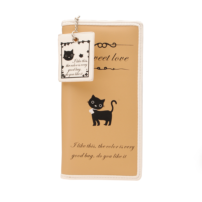 New PU Leather Lovely Cat Zipper Long Lady Wallet