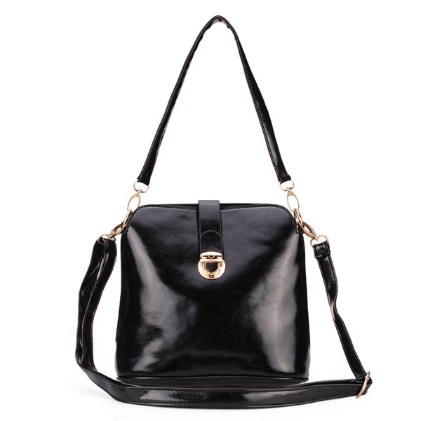 Women PU Leather Oil Skin Lock Shoulder Crossbody Bag