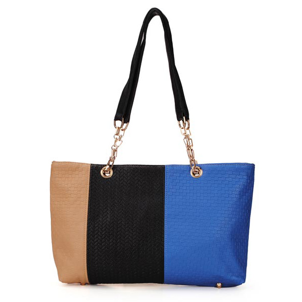 Fashion Knitted Color Block Women Bag Patchwork Handbag Shoulder Bag