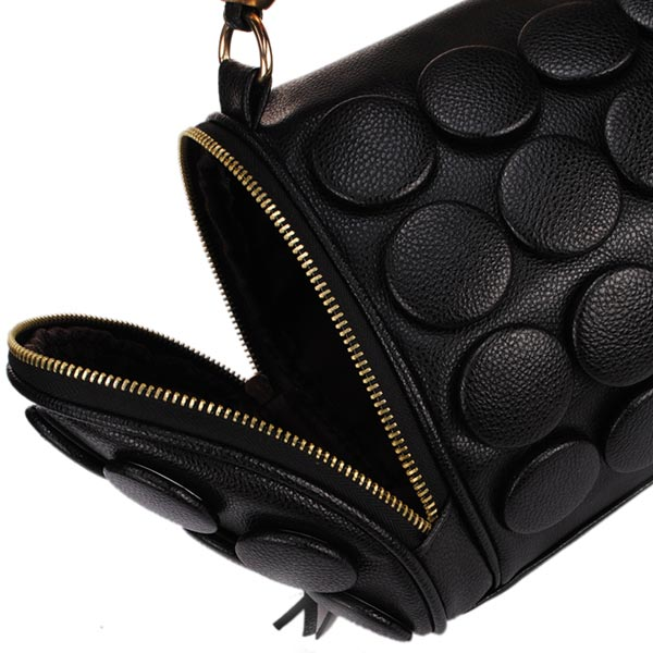 Fashion Punk Style Buttons Women Bucket Bag Black Cross Body Bag