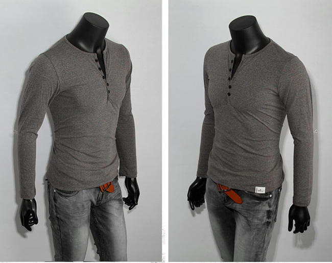 Men's Fashion Single-breasted Long Sleeve Round Neck T-shirt Grey