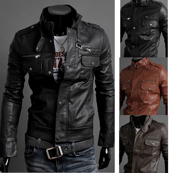 Men's Fashion Stand Collar PU Leather Motorcycle Jackets by HongKong BangGood network Ltd.