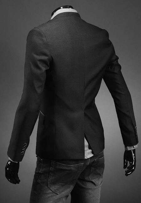Men's Fashion Personality Slim Without Collar Design Suits