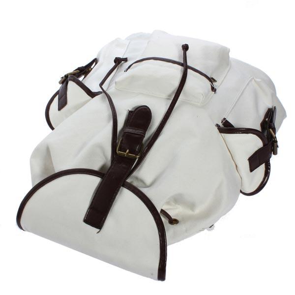 Vintage Women Casual Canvas Backpack Bookbag Bag Shoulder Bag Off-white