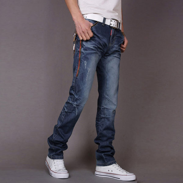 Jeans Fashion Men Folded Zip Faded Blue Jeans Straight Cowboy ...