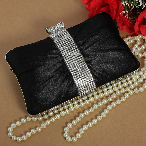Women Satin Diamond Clutch Shoulder Bag