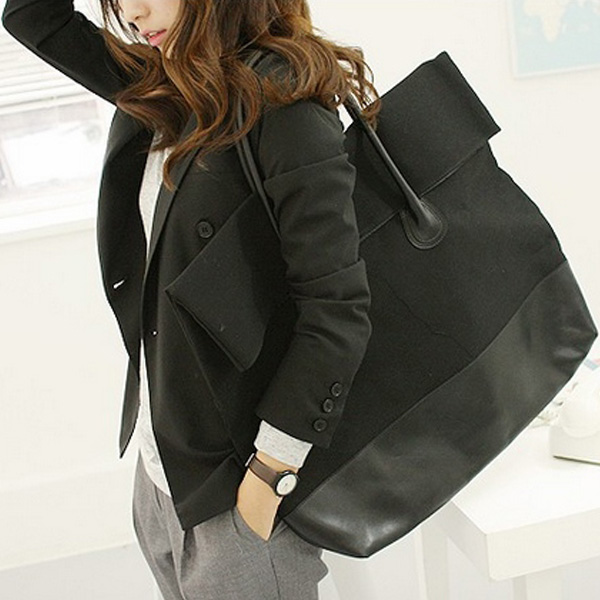 Korean Version Large Capacity Bag Female Flannel PU Bag Shoulder Bag Handbag
