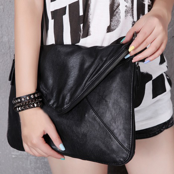 Female Models Vintage Chain Bag Envelope Bag Double Zipper Shoulder Crossbody Bag