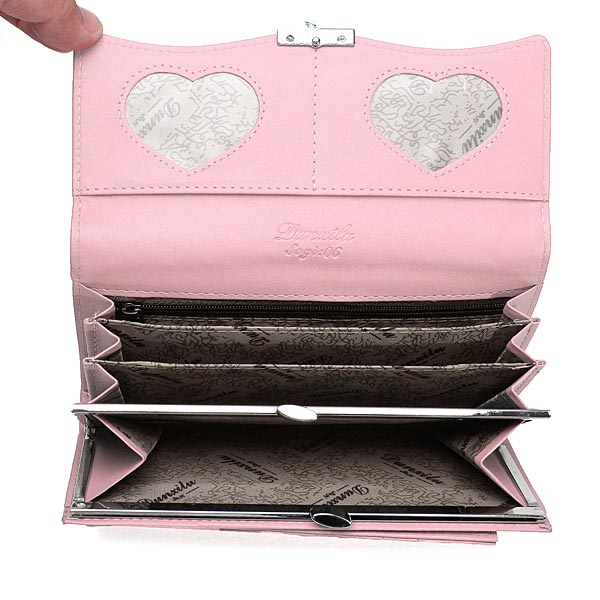 Handy Classical PU Leather Button Wallet Clutch Lady Long Handbag Women Wallet Pink