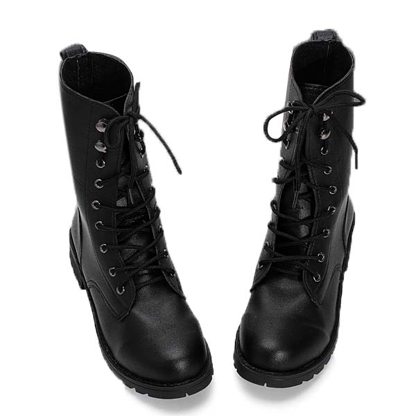Women's Cool Black Punk Knight Lace-up Short Boots