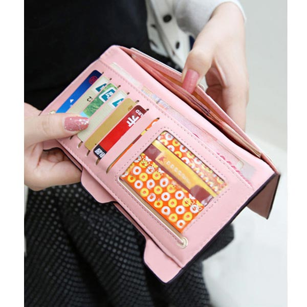Korean Style Cute Women Wallet Bowknot Purse Long Pattern Wallet Pink