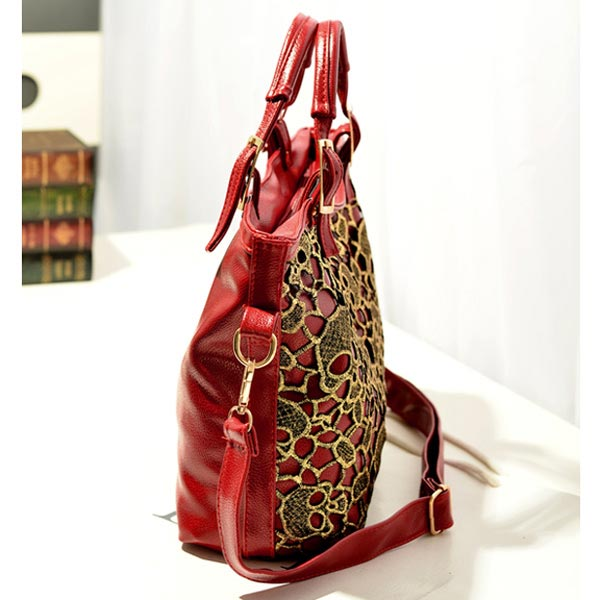 New Fashion Women Leather Handbags Hollow Lace Skull Bag Woman messenger bag