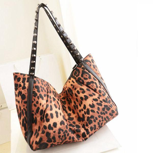 New Fashion Hot Leopard Rivet Handbag Portable Shoulder Bag Handbags