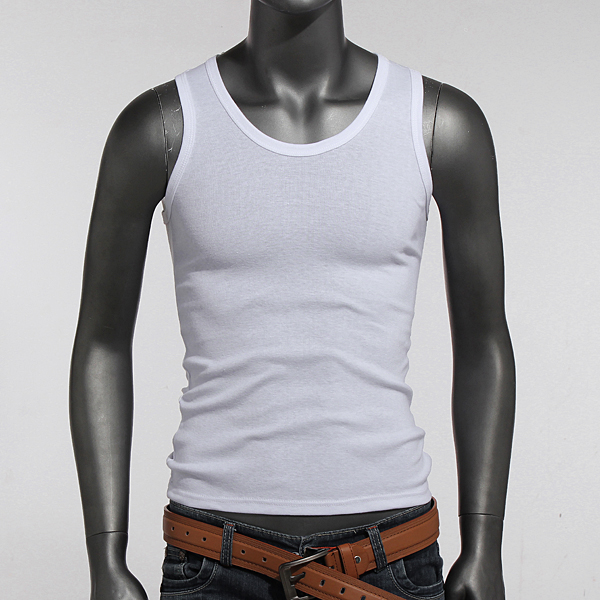 Mens Sleeveless White Tank Tops Cotton Undershirt Vest